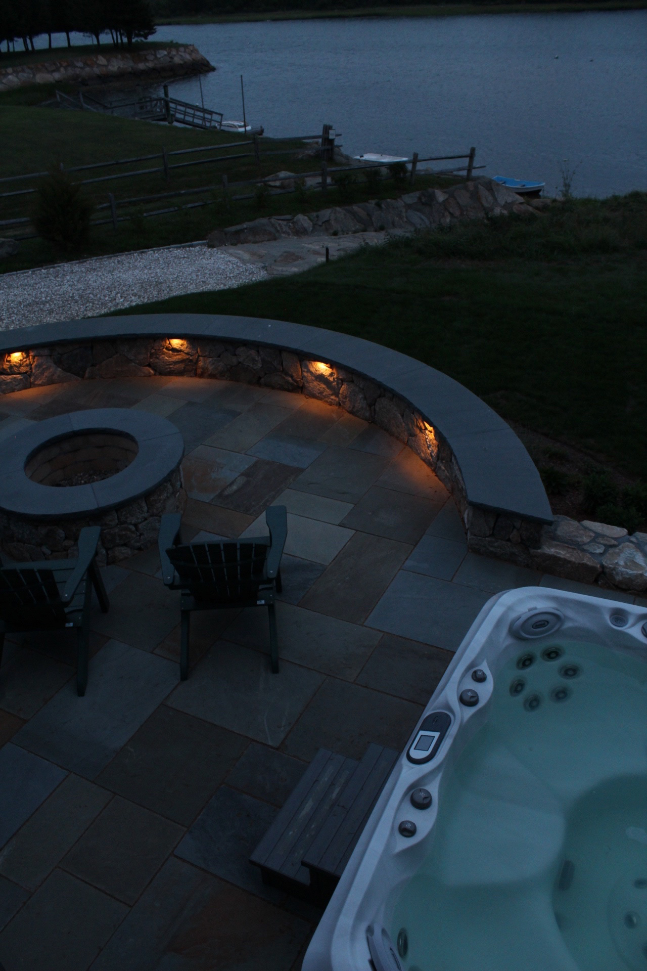 High Angle Shot of Eastham Home's Patio, Hot Tub and Boat Ramp